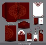 Stationery set design with ancient ornament