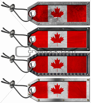 Canada Flags Set of Grunge Metal Tags