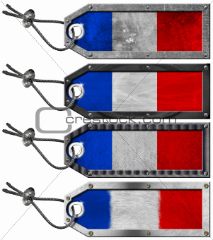 France Flags Set of Grunge Metal Tags