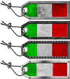 Italy Flags Set of Grunge Metal Tags