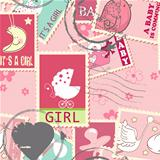 Seamless pattern with baby postage stamps