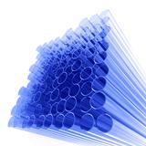 abstract tubes from dark blue glass on a white background