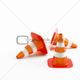 Cone pins of the red-white color used in construction on road