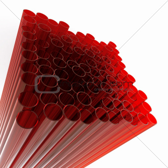abstract glass tubes on a white background