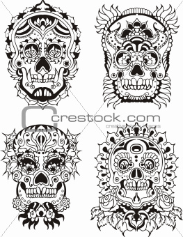 Floral skulls