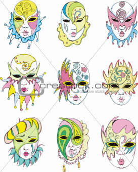 Women in Venetian carnival masks