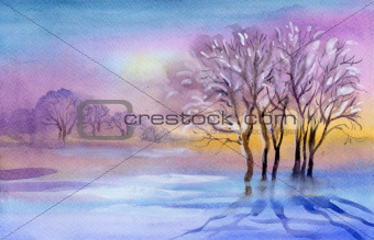 Watercolor Landscape Collection: Winter landscape