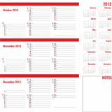 Vector planner for 2013 -Three month calendar