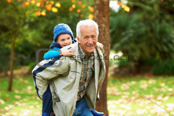 Piggybacking his grandson