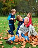 Fun with granny and grandpa in the leaves