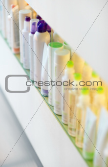 Rows of professional beauty products