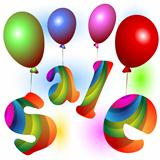 Colorful Sale word with Balloons