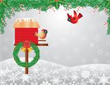 Cardinals Birdhouse with Garland Background Illustration