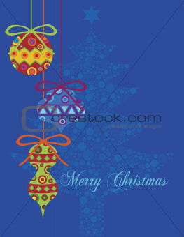 Christmas Colorful Ornaments with Tree Background