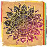 Ethnic purple ornament with rainbow lines