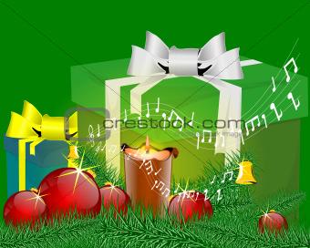 Music green christmas card