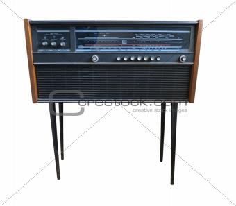 Old retro styled radio isolated on white