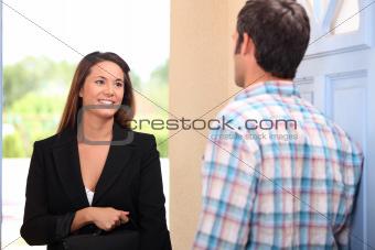 Door to door saleswoman