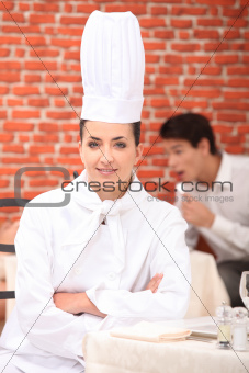 Chef seated in a restaurant