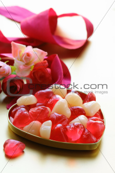 jelly hearts with flowers and ribbons, sweet Valentines Day