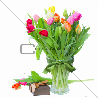 tulips with present box