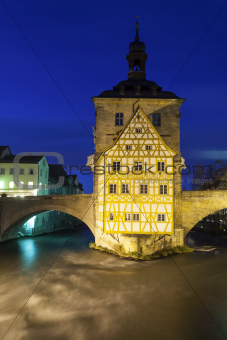 old Rathaus in Bamberg, Germany at night