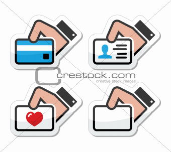 Hand holding credit card, business card, ID icons set as labels