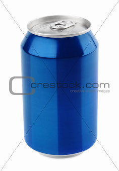 Blue aluminum can on white