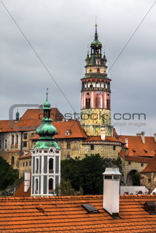 Towers of Cesky Krumlov, Czech Republic.