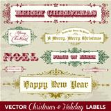 Vector Vintage Christmas Label Set