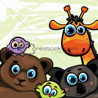 Group of animal - bear, giraffe, koala and birds