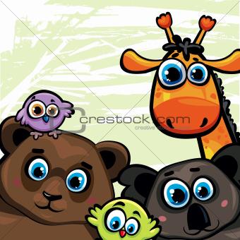 Group of animal - bear, giraffe, koala and birds