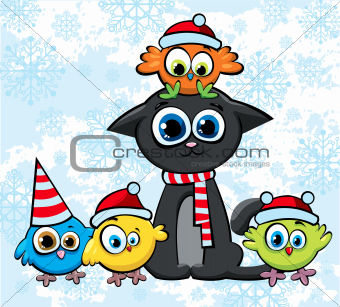 Christmas cat and birds with hats