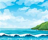 Seascape with waives and island