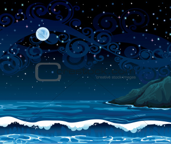 Night seascape with waves, island and full moon