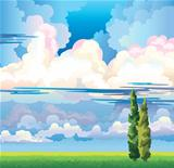 Summer landscape with clouds. two cypress and meadow