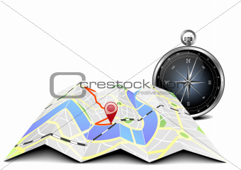 city map with compass