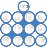 2013 calendar with blue circles