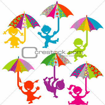 Background with kids playing with colored umbrellas