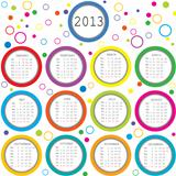 2013 calendar with circles for kids
