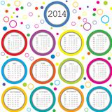 Colored circles 2014 calendar for kids