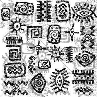 Grunge African symbols background