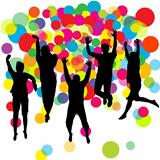 Happy boys and girls jumping over colored balls background