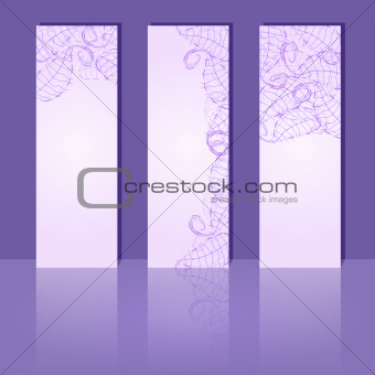 Abstract Floral Brochure Template. Vector Banners with Reflaction. Vertical Cards with Leaf Silhouette and Place fo Text.