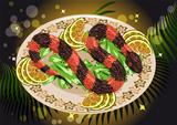 caviar snake with fruits