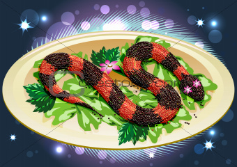 caviar snake with lilly