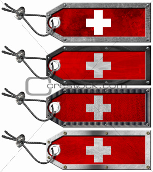 Switzerland Flags Set of Grunge Metal Tags