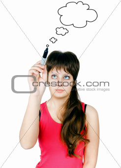 girl drawing clouds thinking