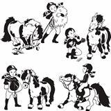 girl and pony horse,black white set