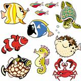 set with cartoon fishes